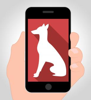Free Stock Photo of Dogs Online Means Canine Phone 3d Illustration