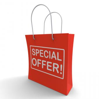 Free Stock Photo of Special Offer Shopping Bag Shows Bargain