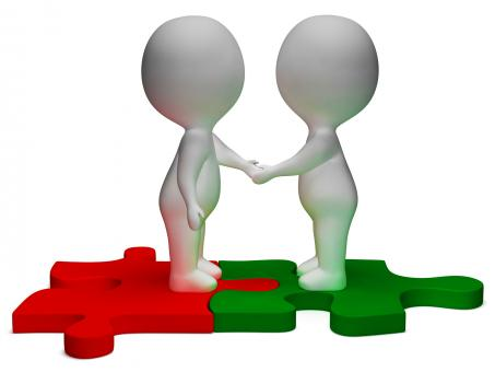 Free Stock Photo of Shaking Hands 3d Characters Shows Partners And Friendship
