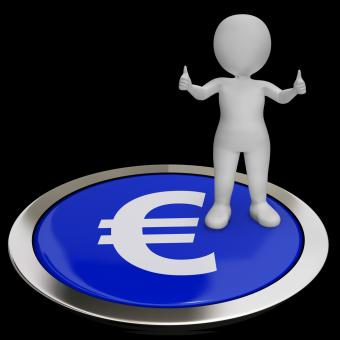 Free Stock Photo of Euro Symbol Button Shows Money And Investments