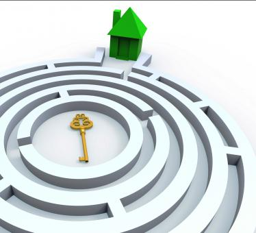 Free Stock Photo of Key To Home In Maze Shows Property Search