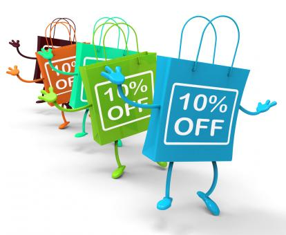 Free Stock Photo of Ten Percent Off On Colored Shopping Bags Show Bargains