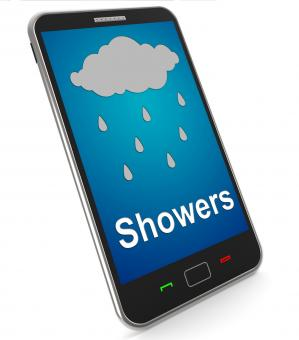 Free Stock Photo of Showers On Mobile Means Rain Rainy Weather