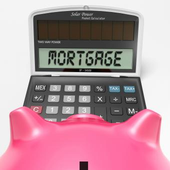 Free Stock Photo of Mortgage Calculator Shows Purchase Of Real Estate