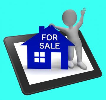 Free Stock Photo of For Sale House Tablet Shows Property On Market