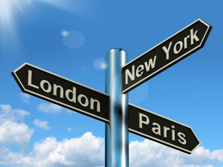 Free Stock Photo of London Paris New York Signpost Showing Travel Tourism And Destinations