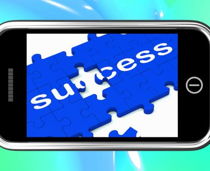 Free Stock Photo of Success On Smartphone Shows Successful Solutions