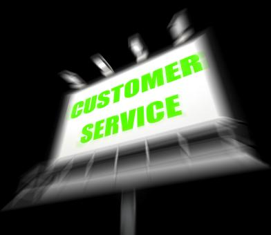 Free Stock Photo of Customer Service Media Sign Displays Consumer Assistance and Serving