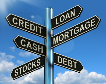 Free Stock Photo of Credit Loan Mortgage Signpost Showing Borrowing Finance And Debt