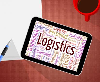 Free Stock Photo of Logistics Word Shows Systemization Plans And Wordcloud