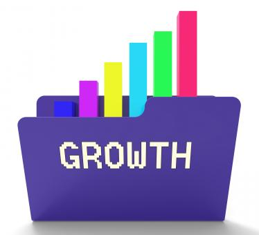 Free Stock Photo of Growth File Represents Business Graph And Binder 3d Rendering