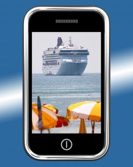 Free Stock Photo of Cruise Ship Travel Picture On Mobile Phone