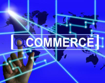 Free Stock Photo of Commerce Screen Shows Worldwide Commercial and Financial Business