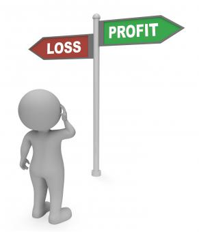 Free Stock Photo of Loss Profit Sign Shows Earn Profit 3d Rendering