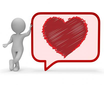 Free Stock Photo of Heart Speech Bubble Means Valentines Day 3d Rendering