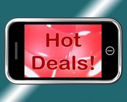 Free Stock Photo of Hot Deals Mobile Message Represents Discounts Online