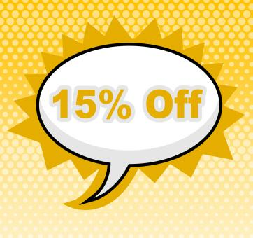 Free Stock Photo of Fifteen Percent Off Indicates Sign Promotion And Placard