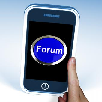 Free Stock Photo of Forum Button On Mobile Shows Social Media Or Information