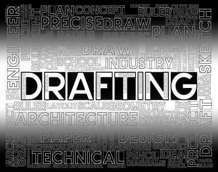 Free Stock Photo of Drafting Words Means Outline Houses And Blueprint