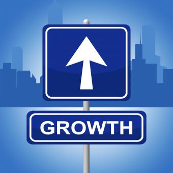 Free Stock Photo of Growth Sign Shows Placard Expansion And Arrow