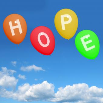 Free Stock Photo of Four Hope Balloons Represent Wishes Dreams Goals and Hopes