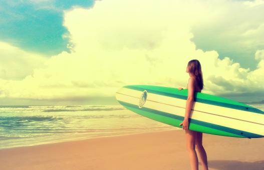 Free Stock Photo of Up to the Challenge - Woman with Surfboard ready to Surf