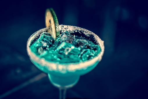 Free Stock Photo of Blue Cocktail in Martini a Glass - Tilt Shift Effect