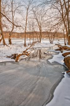 Free Stock Photo of Great Falls Winter Stream - HDR