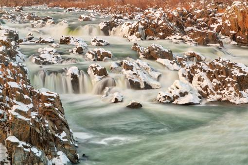 Free Stock Photo of Great Falls Winter Jade Cascades - HDR