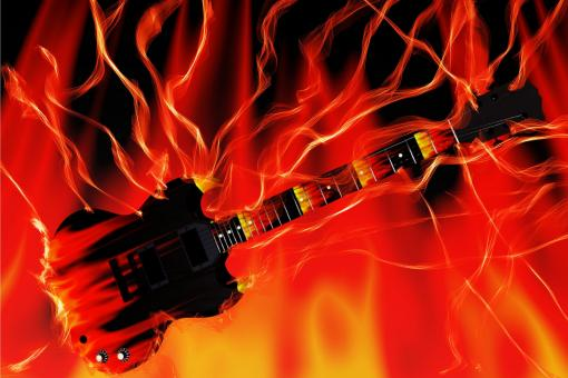 Free Stock Photo of Guitar in Flames