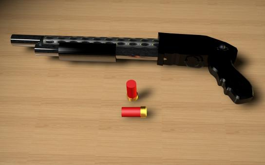 Free Stock Photo of Shotgun 3D Render