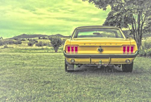 Free Stock Photo of Yellow Ford Mustang - Vintage Car