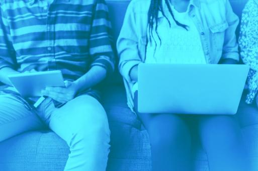 Free Stock Photo of  People Online - Consulting Devices on the Couch - Faded Look
