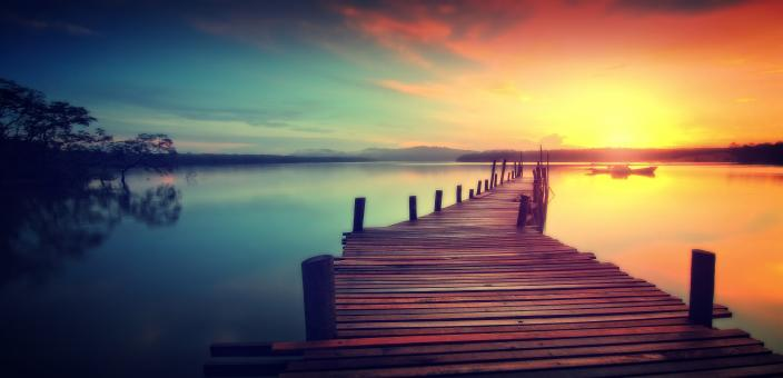 Free Stock Photo of Wooden Jetty at Sunset - Dreamy Looks