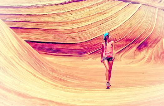 Free Stock Photo of Young Woman Exploring Canyon - Vitality and Adventure