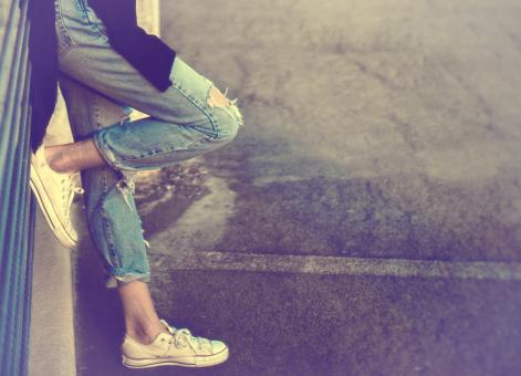 Free Stock Photo of Urban Girl - Close-Up of Legs with Copyspace