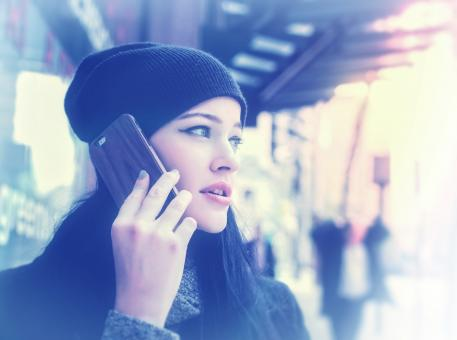 Free Stock Photo of Woman Talking Through Smartphone