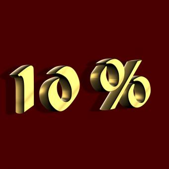 Free Stock Photo of Golden 10 Percent