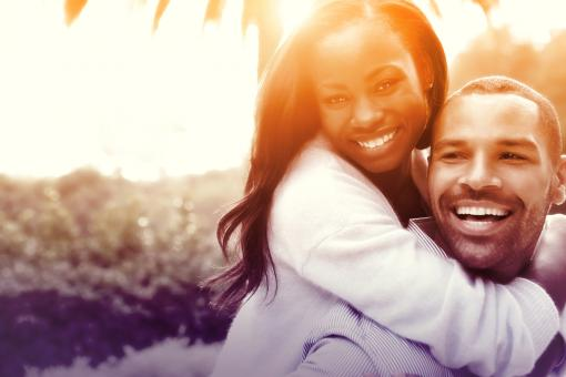 Free Stock Photo of Joyful Couple Hugging in Love - Colorized