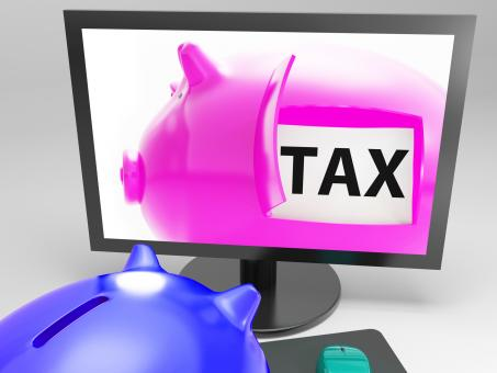 Free Stock Photo of Tax In Piggy Shows Taxation Payment Due