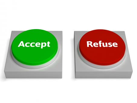 Free Stock Photo of Accept Refuse Buttons Shows Accepted Or Refused