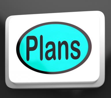 Free Stock Photo of Plans Button Shows Objectives Planning And Organizing
