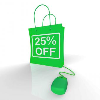 Free Stock Photo of Twenty-five Percent Off Bag Represents Online Shopping 25 Discounts