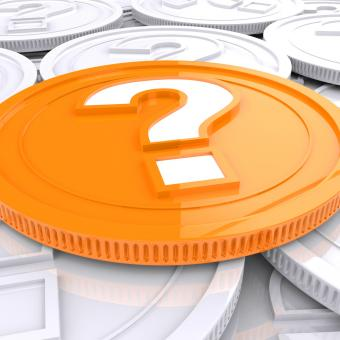 Free Stock Photo of Question Mark Coin Shows Speculation About Finances