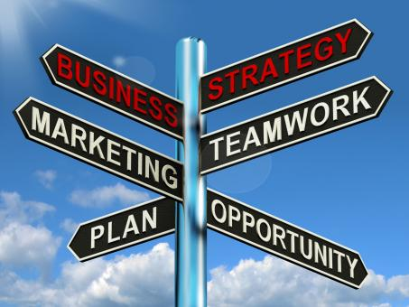 Free Stock Photo of Business Strategy Signpost Showing Teamwork Marketing And Plans