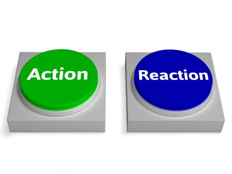 Free Stock Photo of Action Reaction Buttons Shows Acting And Reacting