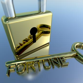 Free Stock Photo of Padlock With Fortune Key Showing Luck Success And Riches