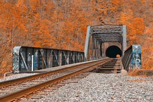 Free Stock Photo of Graffiti Train Track - Amber Autumn HDR