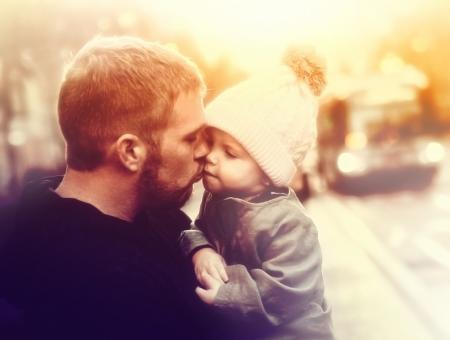 Free Stock Photo of Loving Father Kissing Baby Girl - Colorized