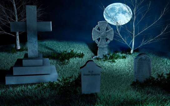 Free Stock Photo of Cemetery at Night